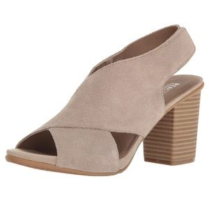 Kenneth Cole Cari Love Suede Beige Leather Heels